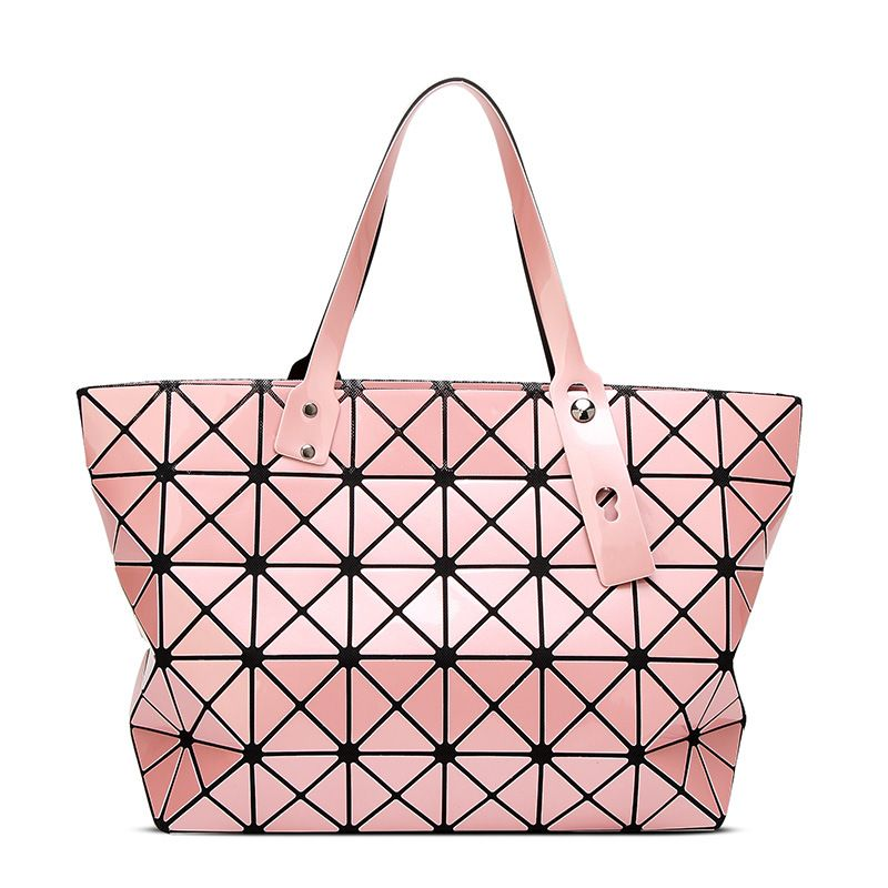 2017 Ladies Folded Geometric Plaid Bag Women Brand Casual Tote Top-handle  Bag Shoulder Bags Bao Bao Pearl BaoBao Bolsas Handbags 226c344fa5256