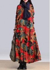 Asymmetric Hem Round Neck Long Sleeve Printed Dress