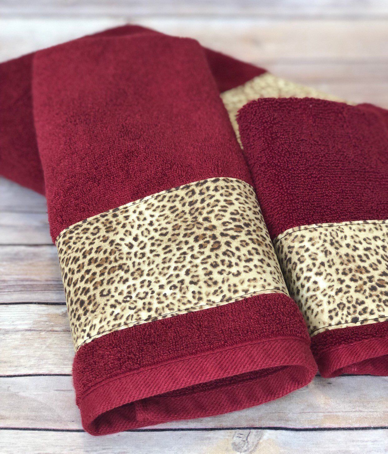 Leopard Red Bath Towels Cream And Brown Leopard Print On Red