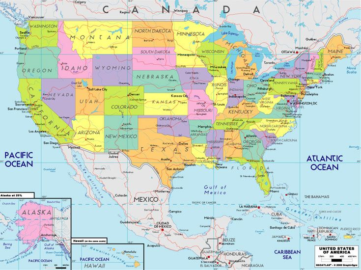 Maps: Usa Map Road Map | United states map, North america ...