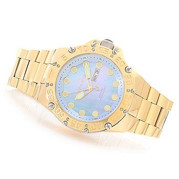Android 50mm Enforcer Automatic Mother-of-Pearl Deep Dish Dial Bracelet Watch