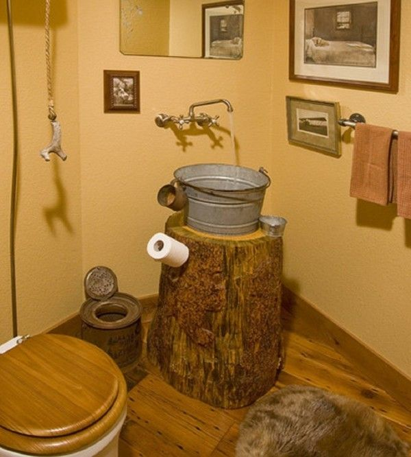 Decoration Beauty Antique Looking Bathroom Vanities Using Round Log Table  With Rustic Bucket Sink And Wall