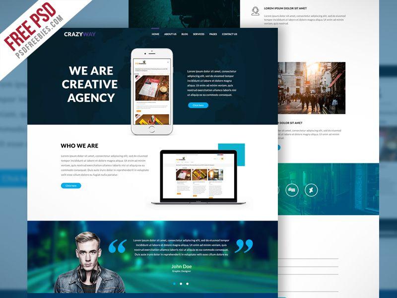 Creative Agency Website Template Free Psd