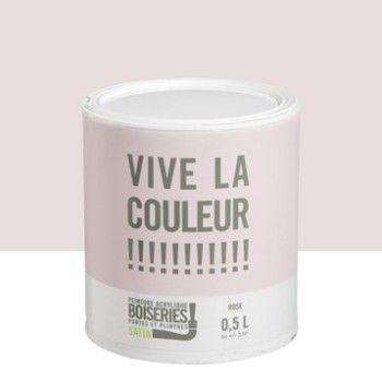 Peinture boiserie VIVE LA COULEUR!, rose, 05 L Leroy Merlin - peinture plafond mat ou brillant