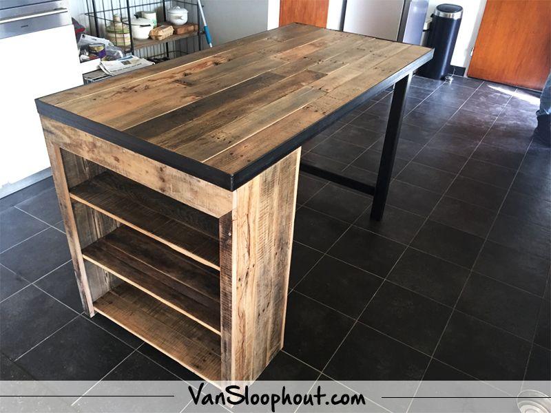 Keuken tafel met opbergvakken van eiken sloophout erg handig maar vooral ook erg mooi - Tafel design keuken ...