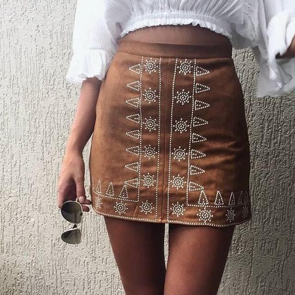 Symmetric Retro Pattern Skirt