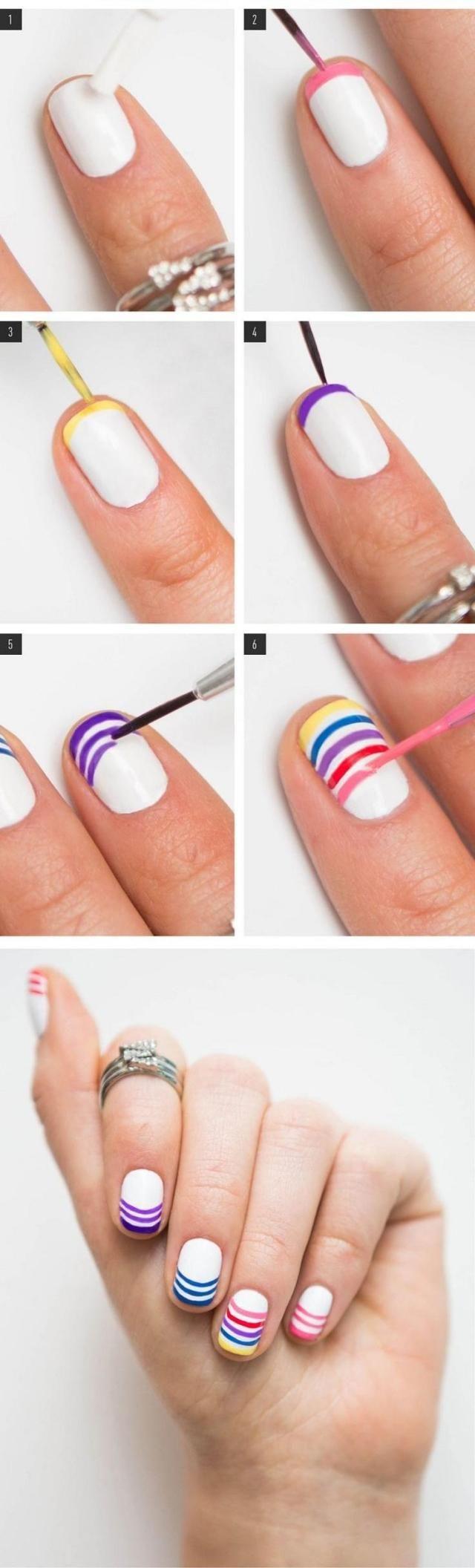 Nagel Design Selbermachen Anleitung Bunte Streifen Fingernägel