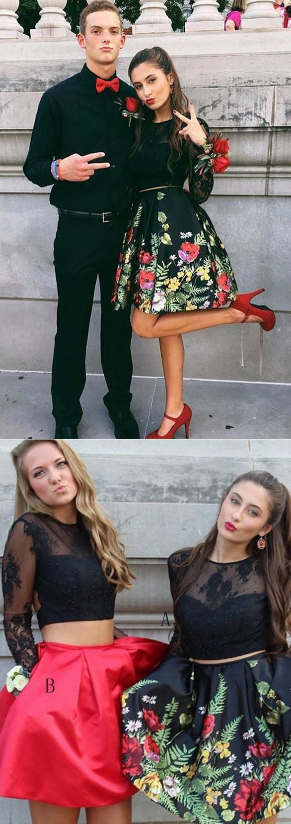 pieces lace black printed satin long sleeves homecoming dresses