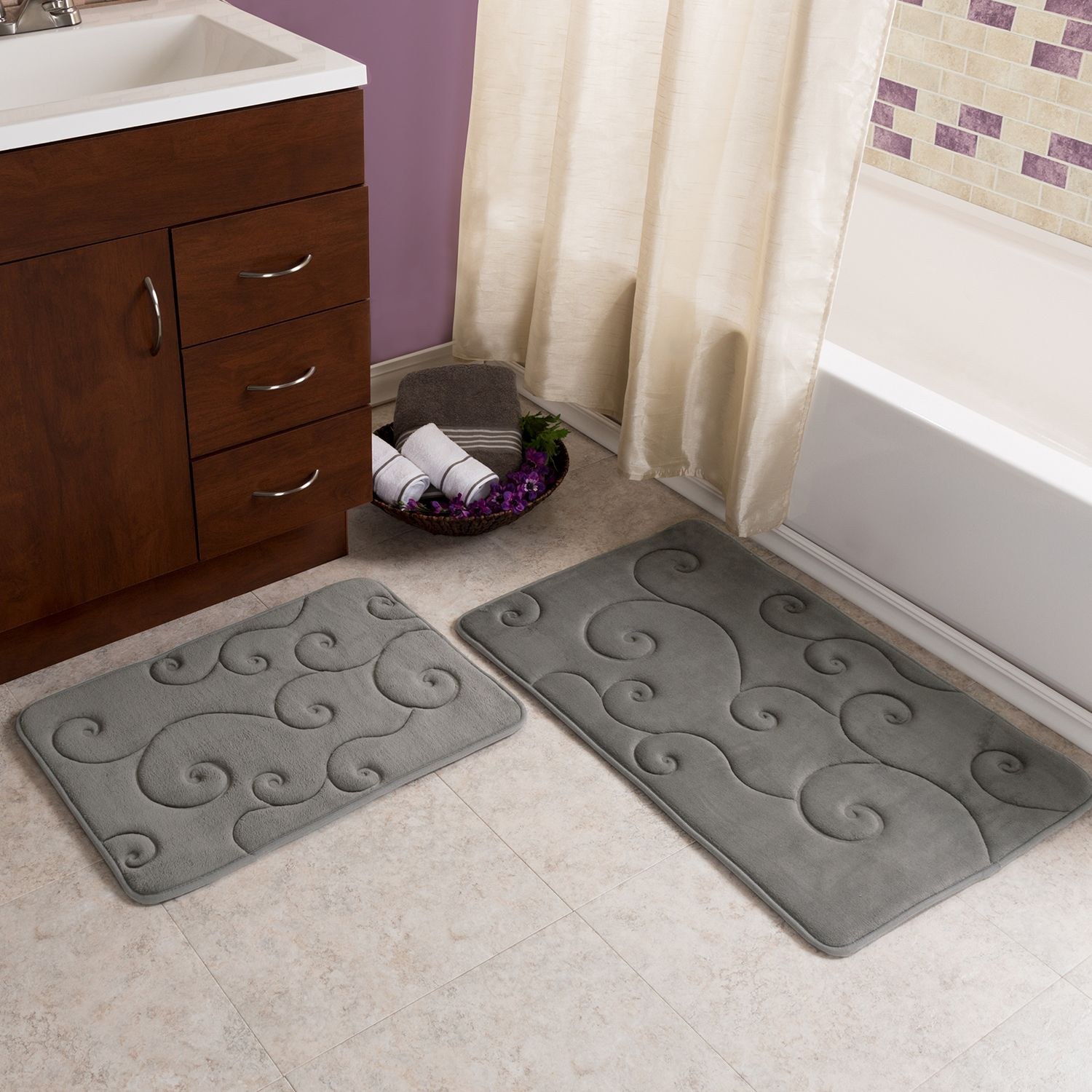 Platinum Scroll Memory Foam Bath Rug Set Of 2 With Images Bath
