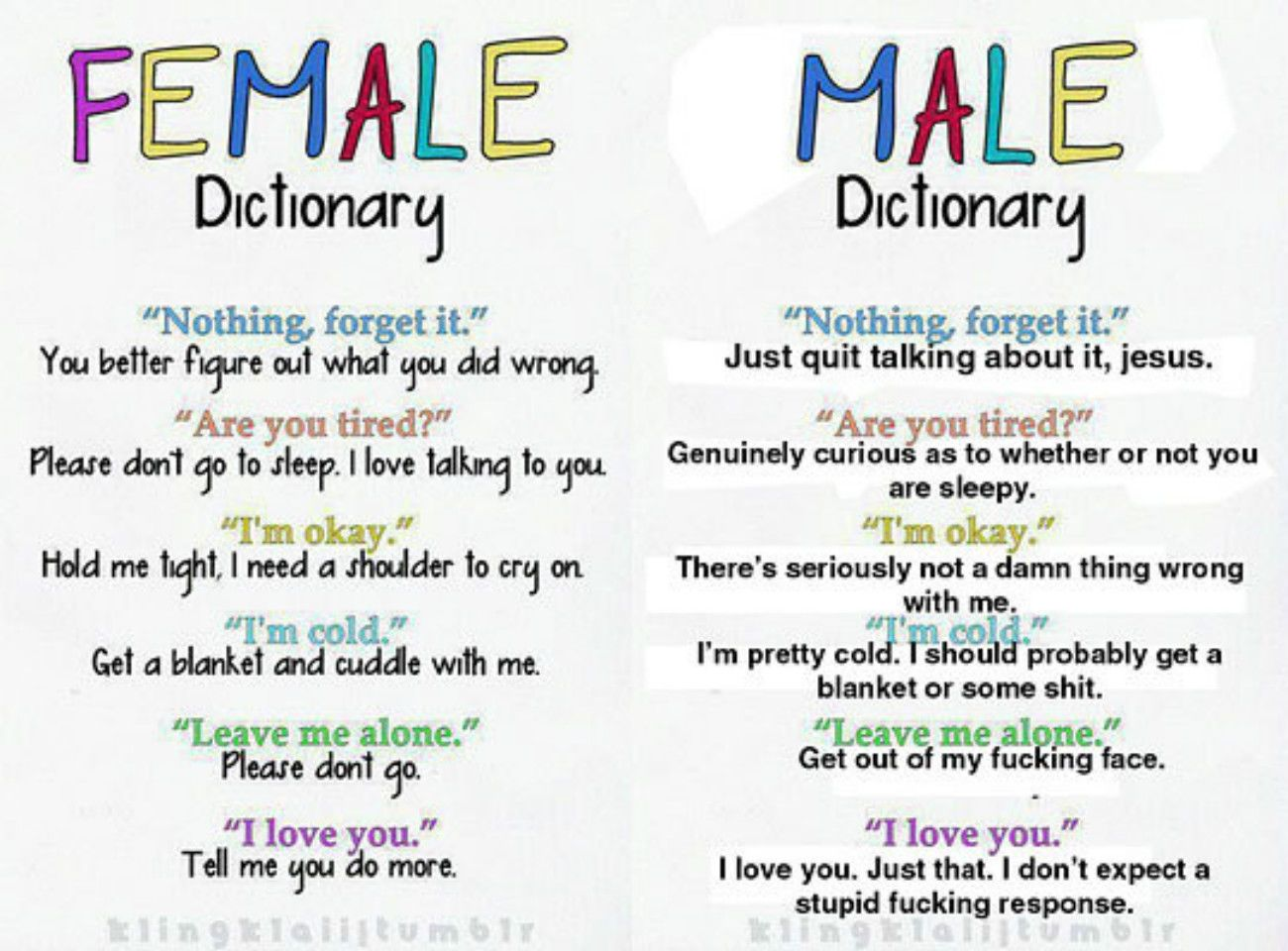 The Male And Female Dictionary Funny Quotes Quote Men Jokes Women