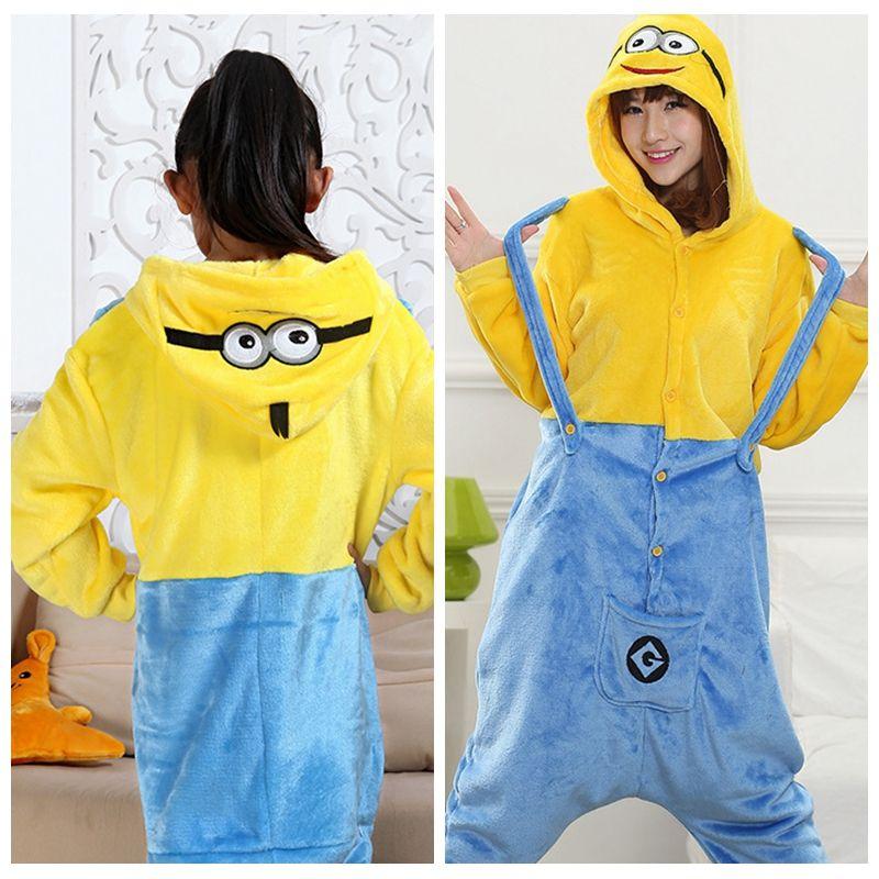 ebfb02b136 Hombres Mujeres Adultos Pijama puntada unicornio Minions cosplay Animal  Kids Pijama Familia traje A Juego ropa