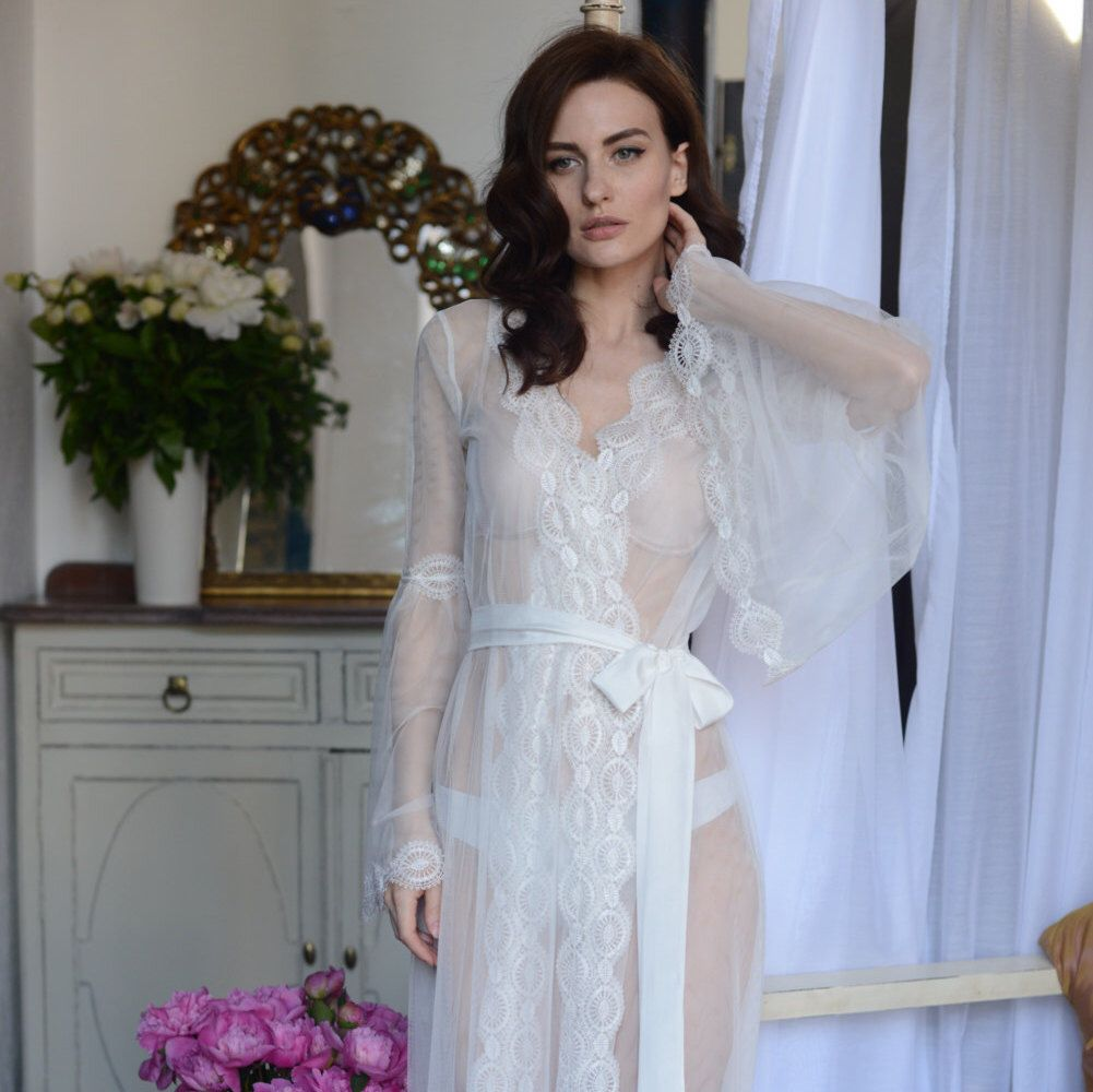Lace-trimmed Tulle Bridal Robe F10 (Lingerie, Nightdress), Bridal ...
