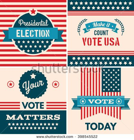 American Election Badges And Vote Logo Graphics Design Elements