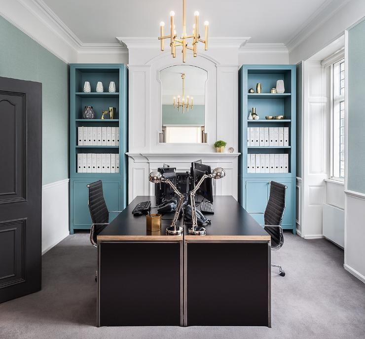 Black Desks For Home Office Modern Blue And Black Home Office With Face To Face Modern Home Office Desk Home