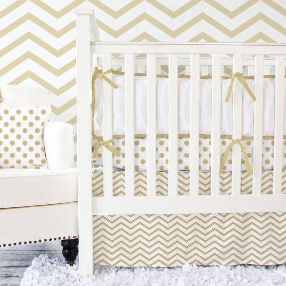 Metallic Gold Chevron Baby Bedding Set By Cadenlanebabybedding 172 00 Gold Baby Bedding Crib Bedding Girl Baby Bedding Sets