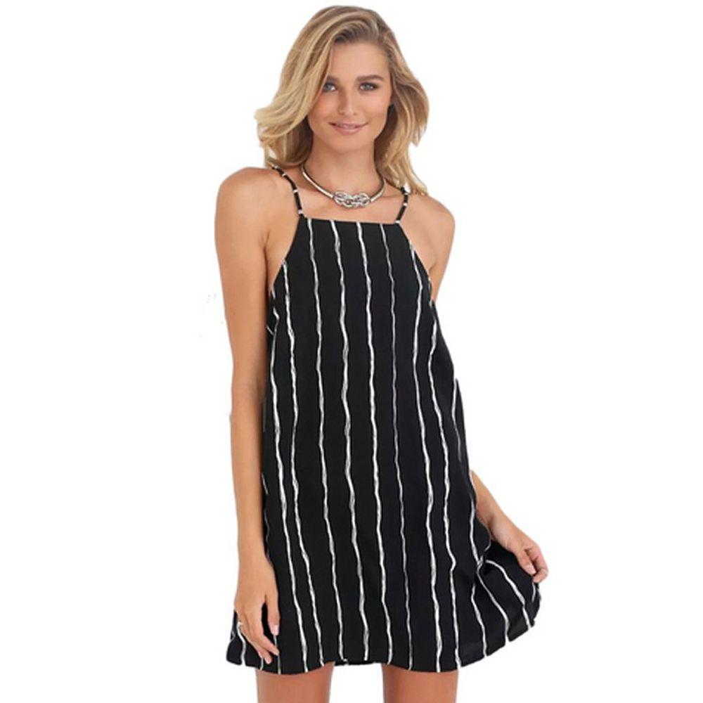 Hot sale Women Casual Dress Sexy Adjustable Sleeveless Stripe Black ...
