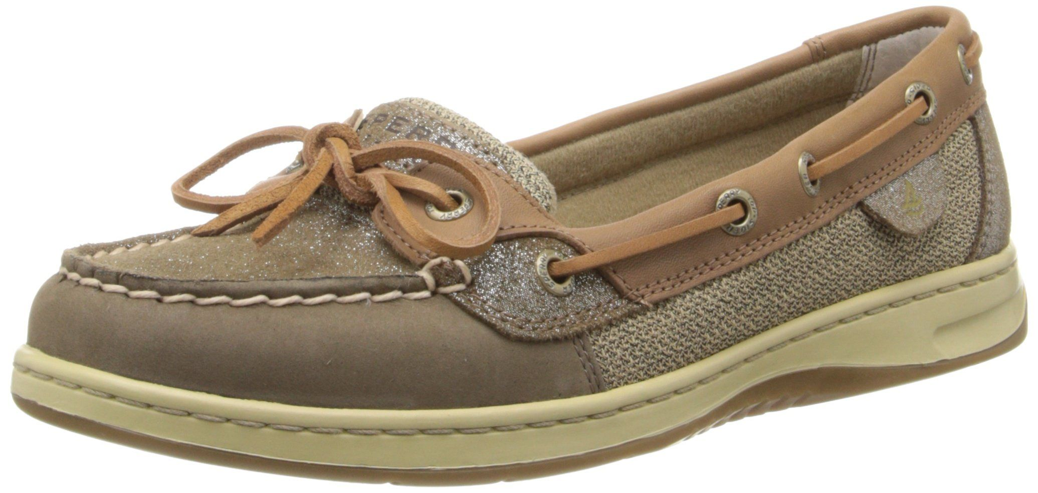 Sperry Top-Sider Women's Angelfish Sparkle Suede Boat Shoe, Griege/Light Tan, 9 M US