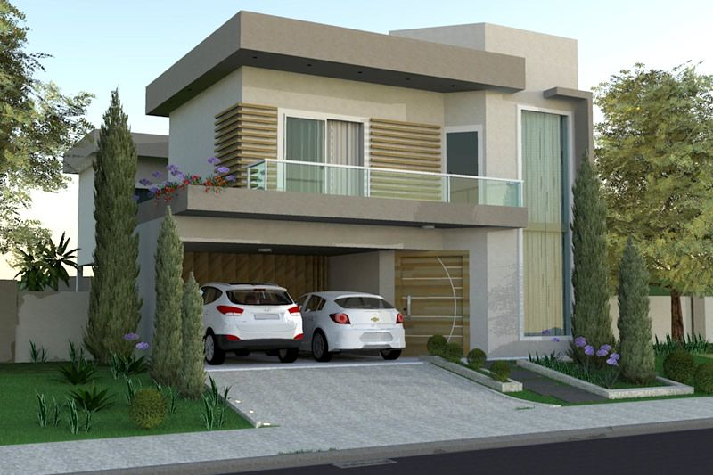 Projeto de sobrado em l com rea gourmet projetos de for Casa moderna 7x20