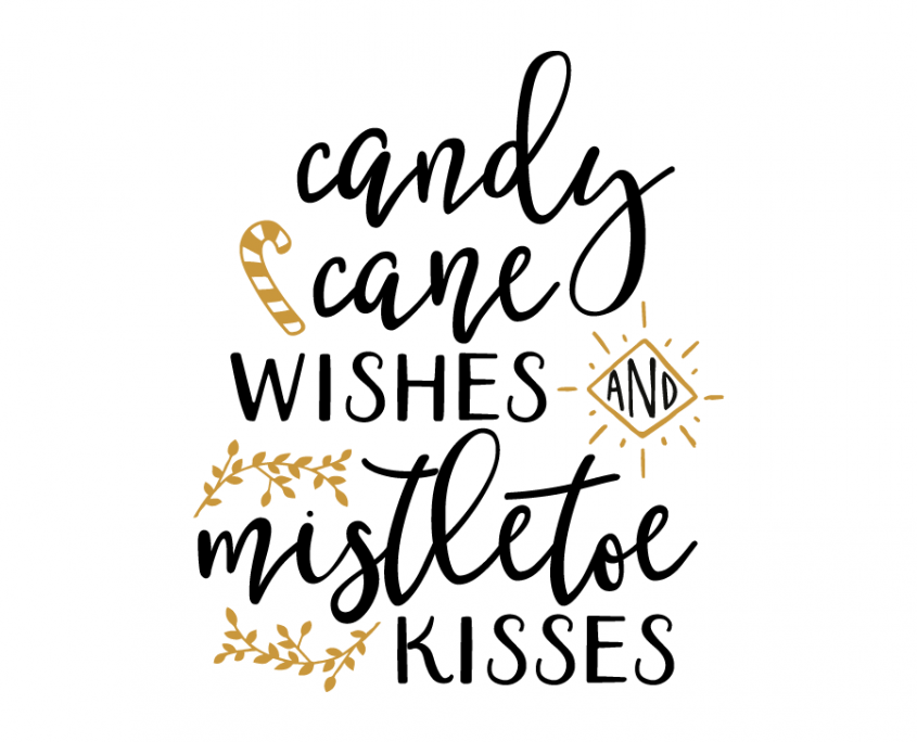 Free SVG cut file Candy Cane Wishes Cricut Sizzix