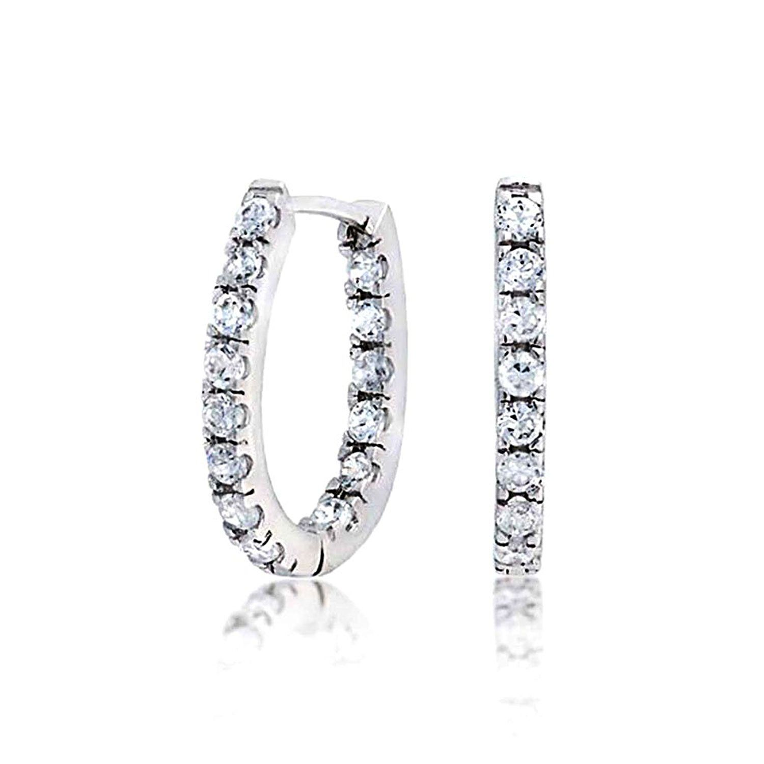 f3afb44534cd1 Bling Jewelry Pave CZ Thin Inside Out Sterling Silver Huggie Hoop ...
