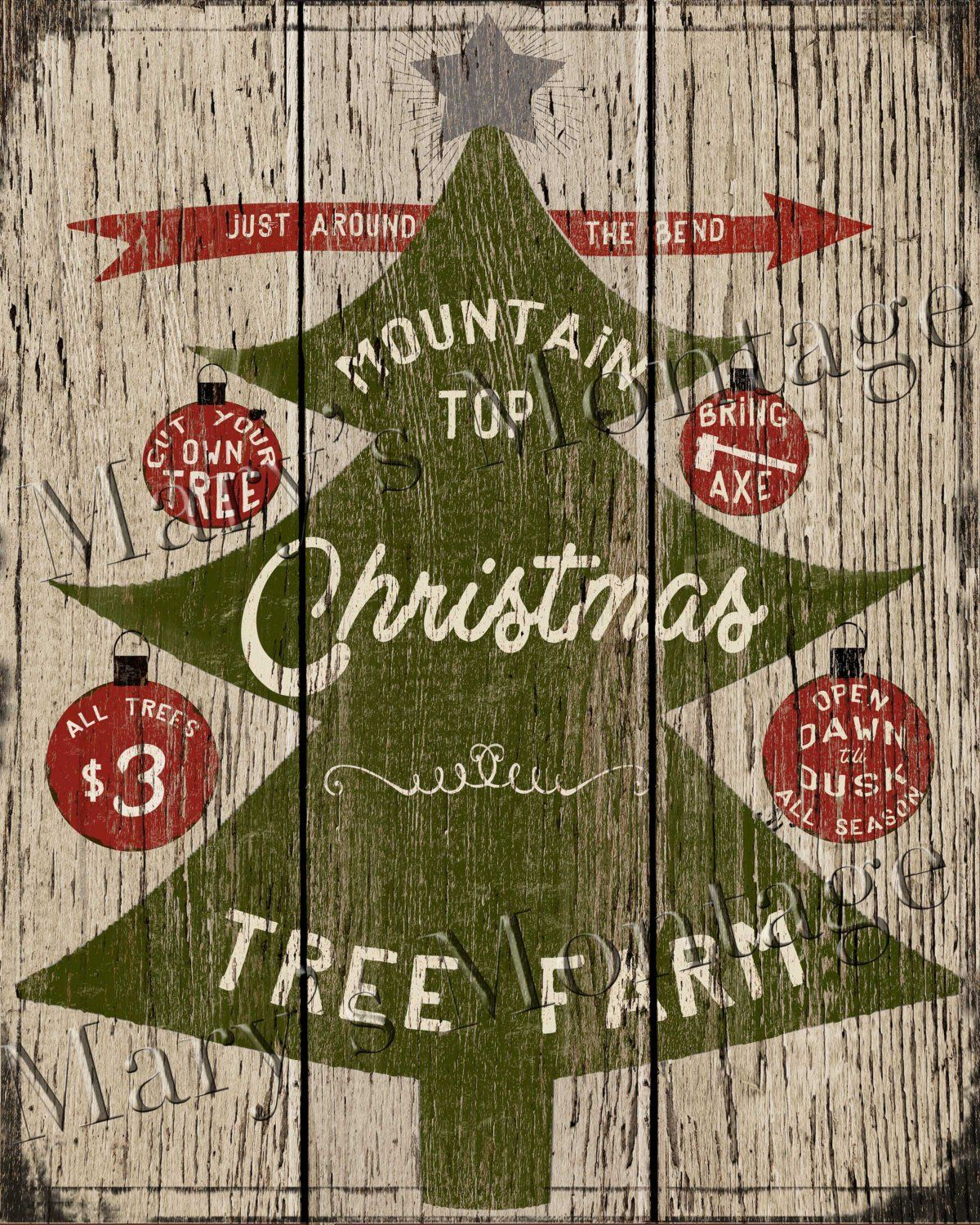 Country Pines Christmas Tree Farms: Christmas Trees Retro Style Sign, 8x10, Printable Download