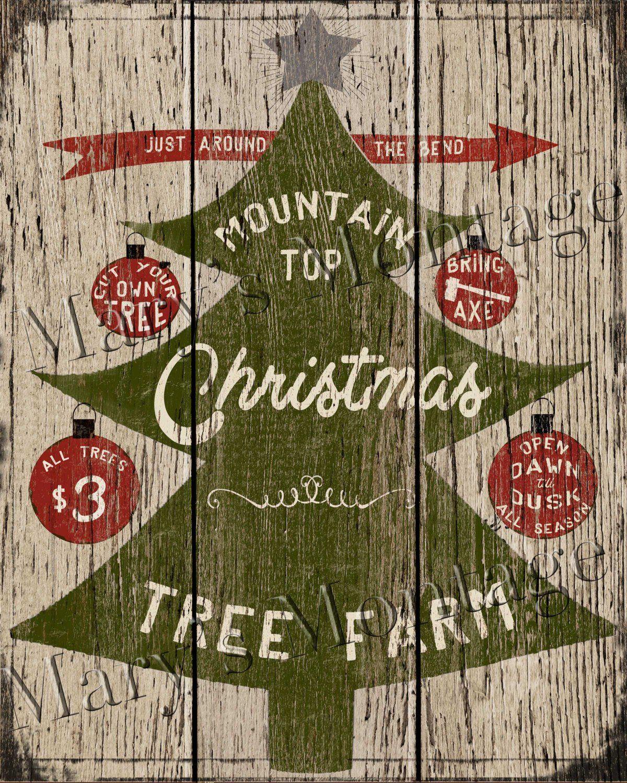 Christmas Trees Retro style sign, 8x10, Printable download