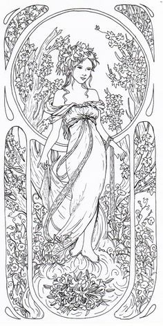 alphonse mucha's art nouveau coloring book - Google Search