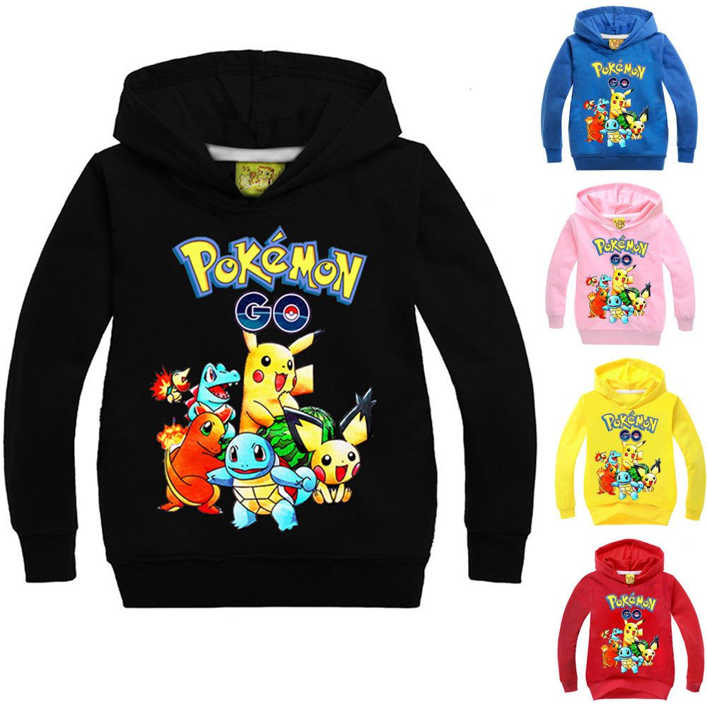 Pikachu Kids Boys Girls Hooded Pullover Hoodie Autumn Winter Warm Outfits Tops