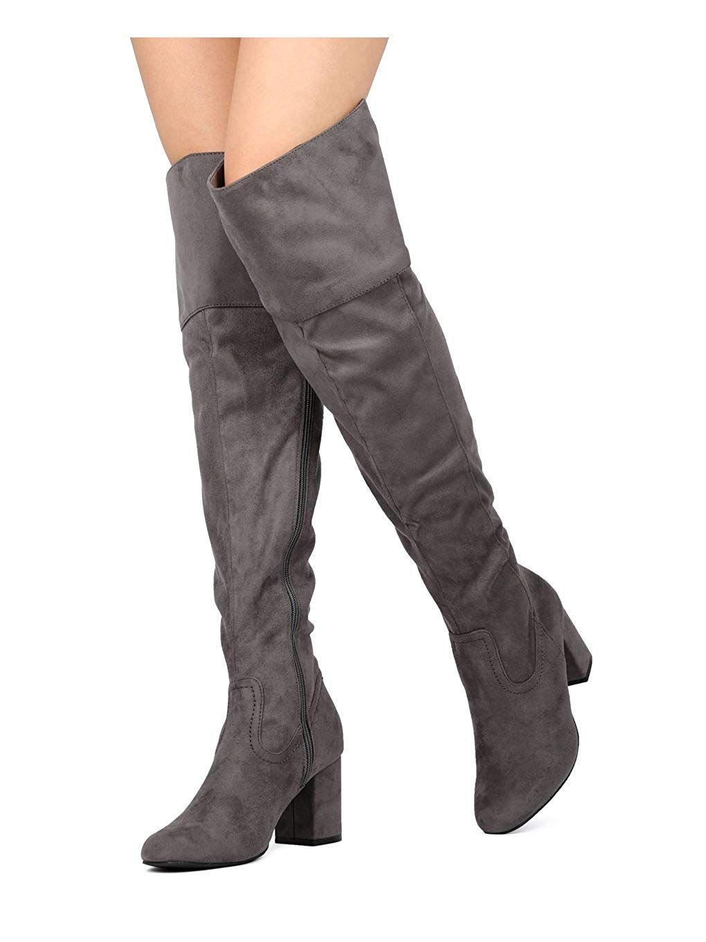1a7aac1dd5e Wild Diva Women Faux Suede Over The Knee Chunky Heel Boot GA01 ...