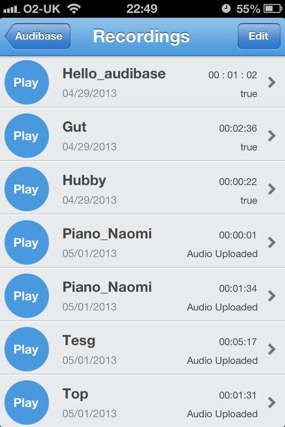 Audibase recording list App
