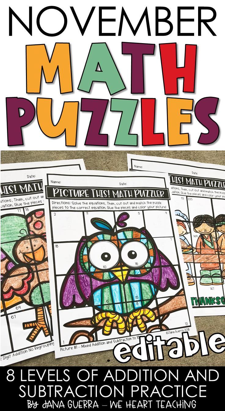 November Math Puzzles / Thanksgiving Math Activities