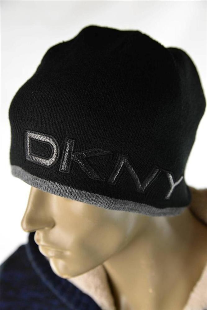 481ff119f Mens Hats DKNY Donna Karan Logo Black Knit Skully Style Cap Hat O/S ...