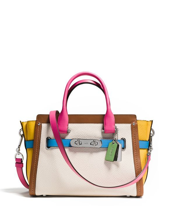 46dd090cca24 Coach Swagger 27 Carryall in Rainbow Colorblock Leather