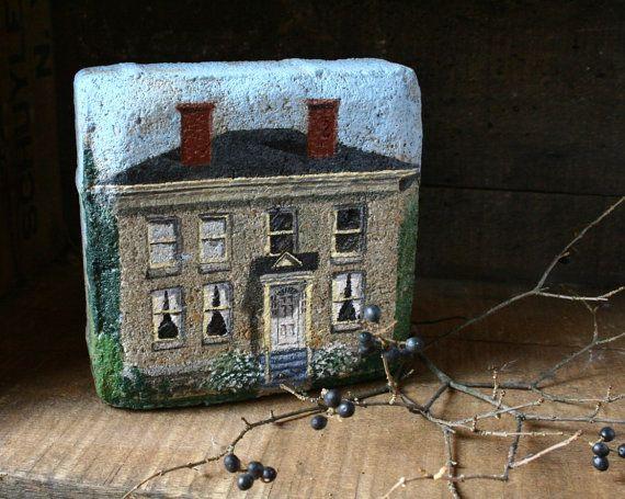 Painting on brick Bank Sackets Harbor NY by blancoynegro on Etsy