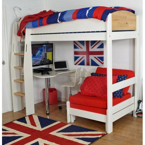Norfolk Single High Sleeper Bed With Desk Kids Avenue Colour