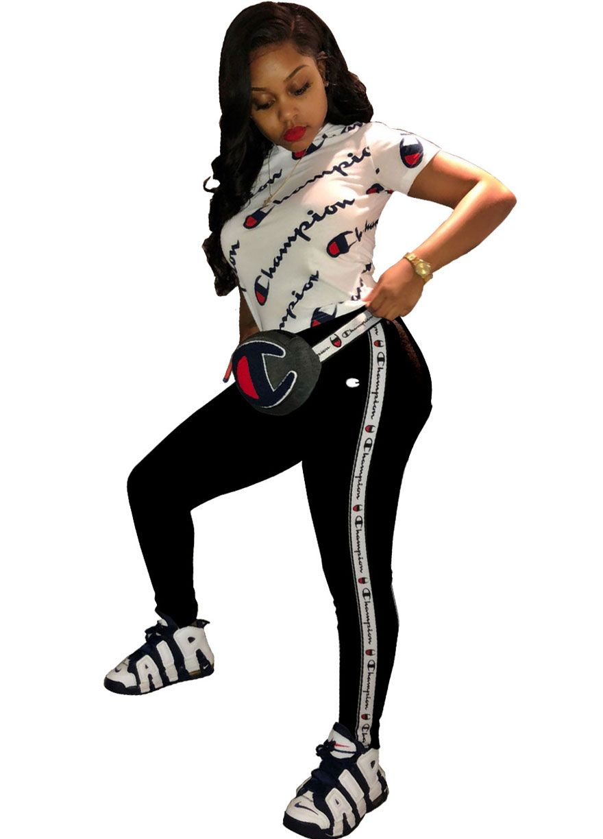 f033a3f0672 CHAMPION Short Sleeve Sporty Two Piece Set Pant Set Women Set Sexy Lingeire
