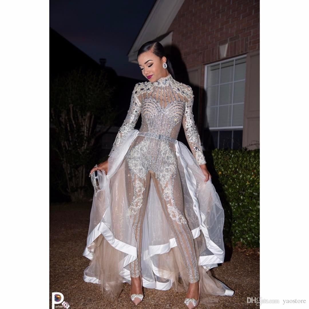 242da897b76e Stunning Jumpsuit Wedding Dresses With Lace Crystals 2017 Two In One  Detachable Train Long Sleeve Illusion Tulle Overskirt Bridal Gowns
