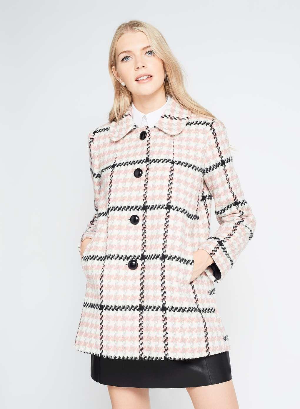 Pink Check Button Through Coat | Missselfridge | Want! | Pinterest ...