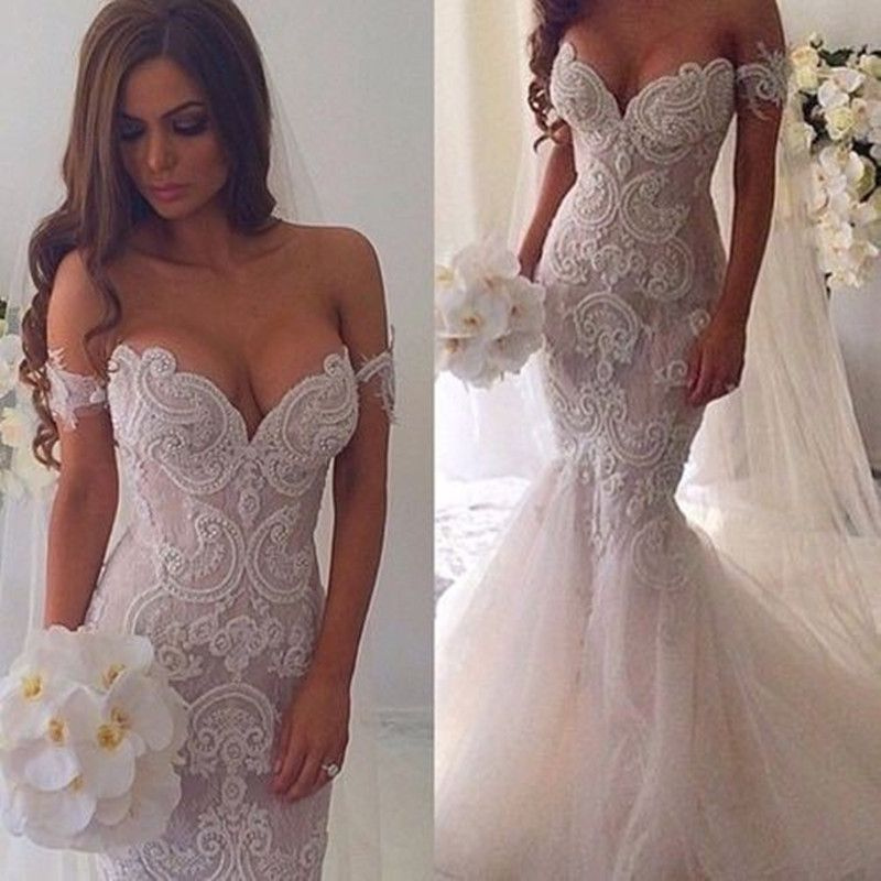 Off The Shoulder Mermaid Applique Charming Long Wedding Dress BG51610