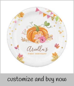 Pumpkin Paper Plates Pink Gold Birthday Autumn |  Pumpkin Paper Plates Pink Gold Birthday Autumn
