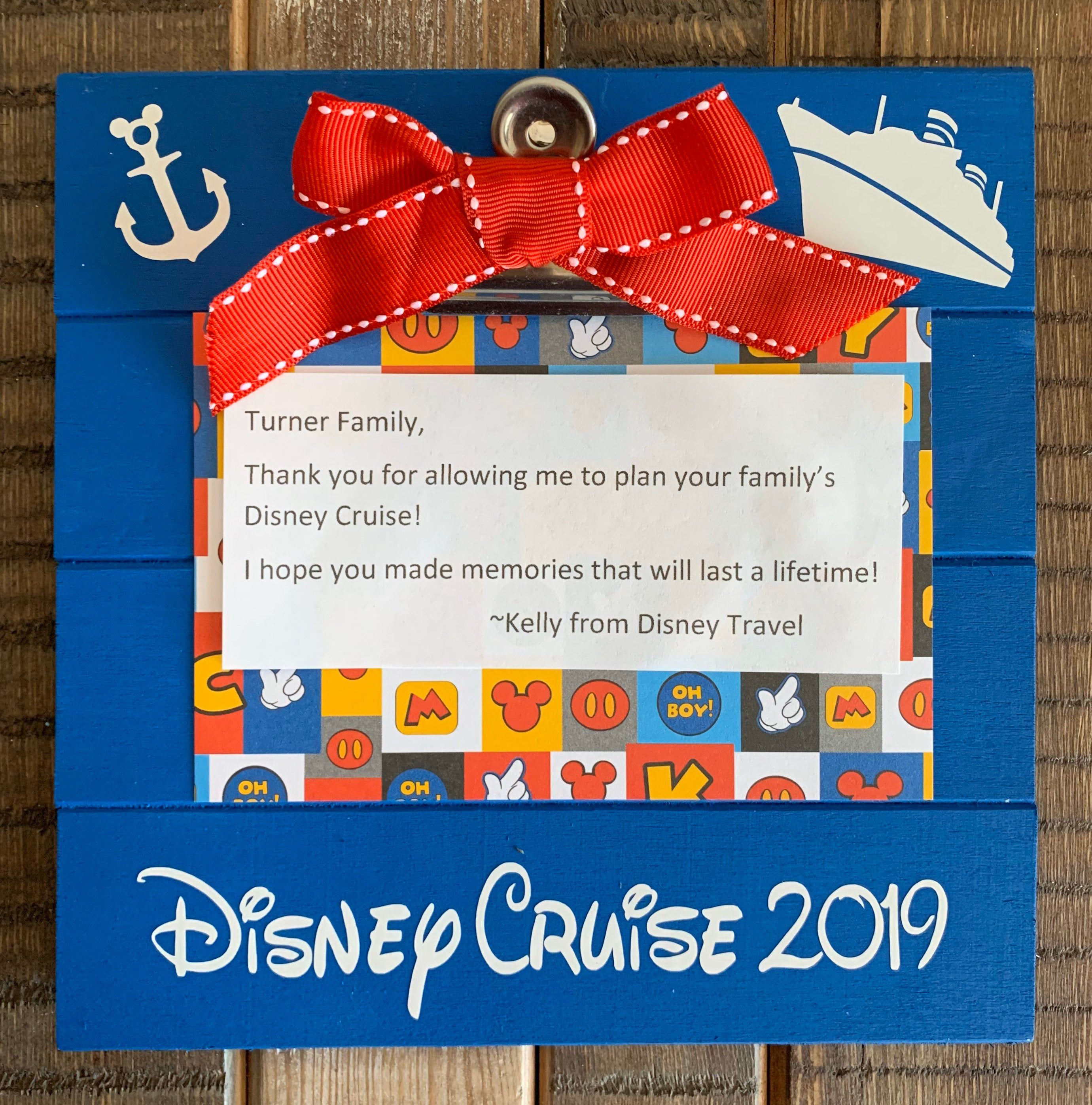 Disney Cruise Wood Frame Hand Painted In Ocean Blue With Mickey Anchor And Cruise Ship Disney Travel Gift Disney Travel Agents Disney Cruise Disney Gift