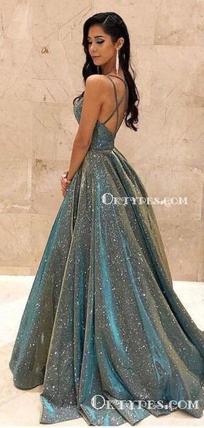 Ball Gown Sparkly Spaghetti Strap Sleeveless Long Cheap Sequin Charming Prom Dresses, TYP2084 #modestprom