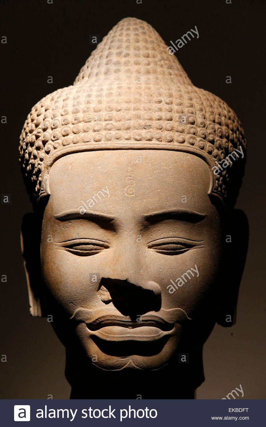 Sandstone Head Baphuon Style Dating From The 11th Century From