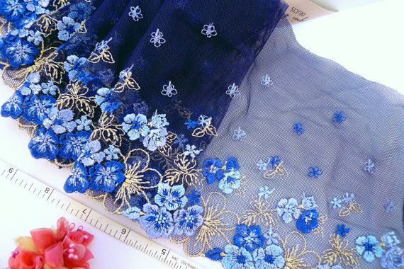 Navy Blue Lace Embroidered Floral Tulle Net Trim 2 Yards Bl085 Blue Lace Stretch Lace Fabric Lace