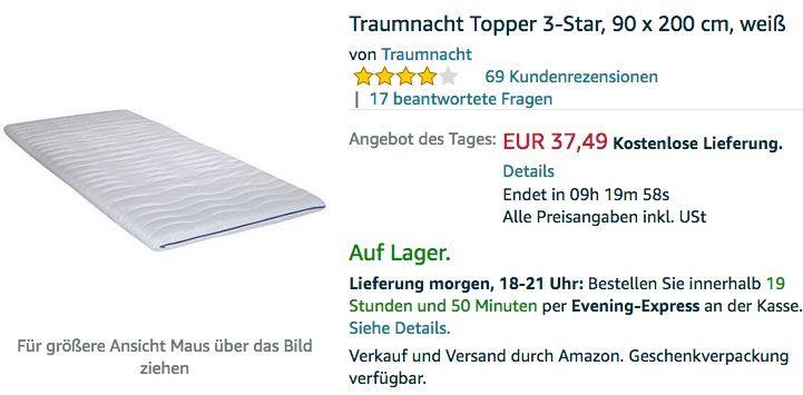 Traumnacht Topper 3 Star 90 X 200 Cm Weiss Haus Garten Schnappchen Stars