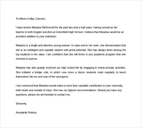 Student Recommendation Letter Sample from i.pinimg.com