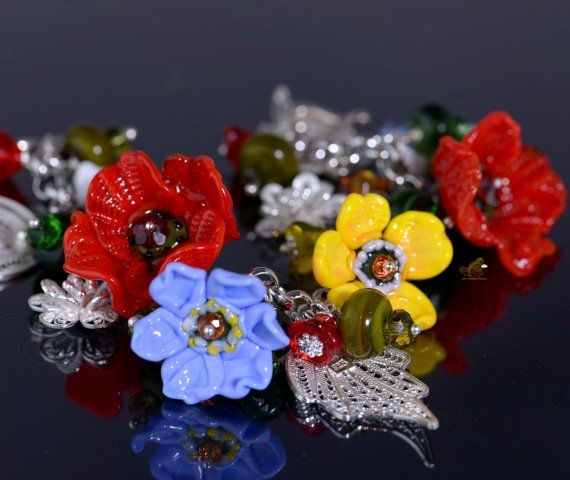 Floral Poppy Charm Lampwork Bracelet Floral by FireMonkeyCreations