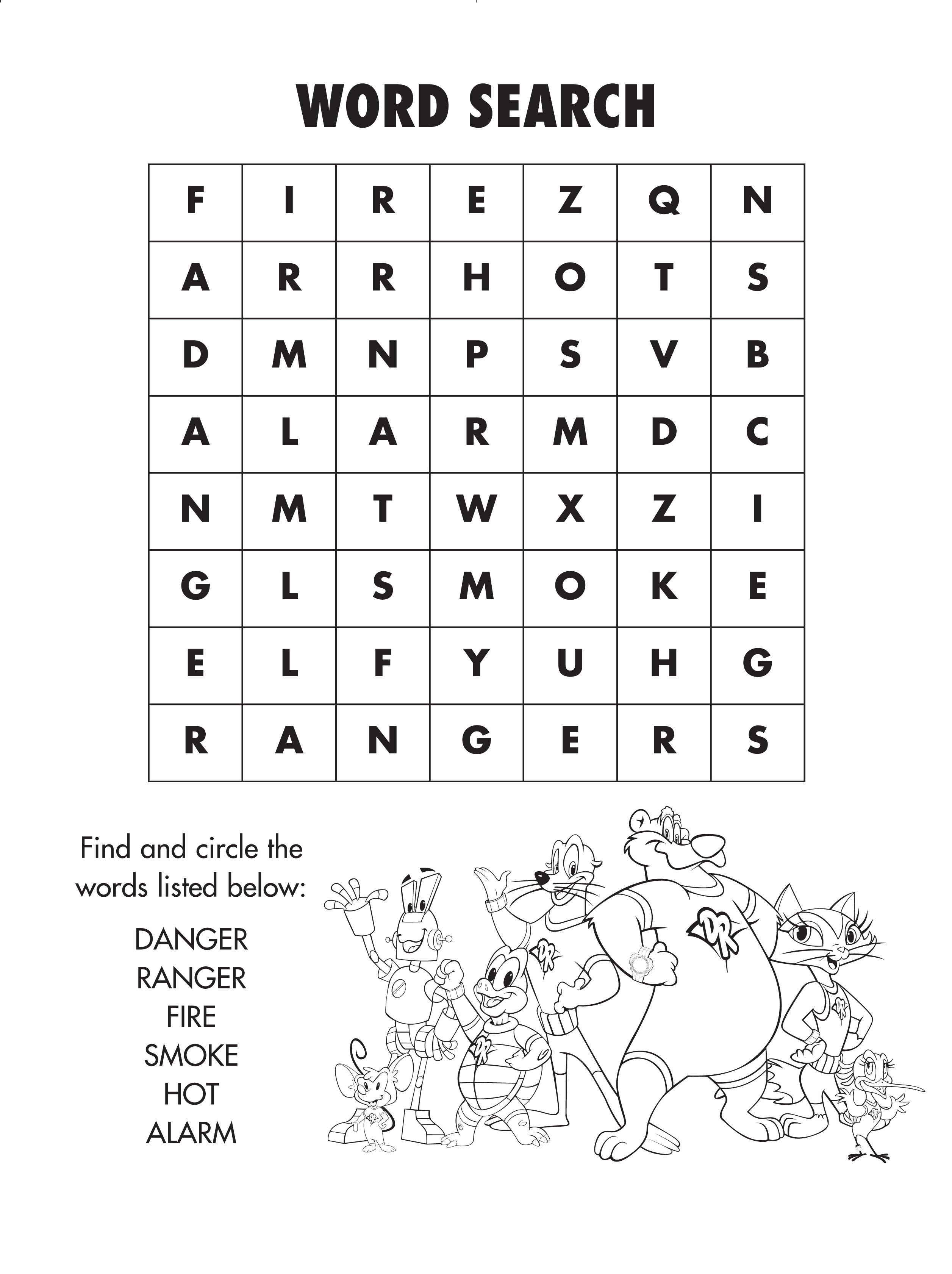 Fire Safety Word Search Coloring Page