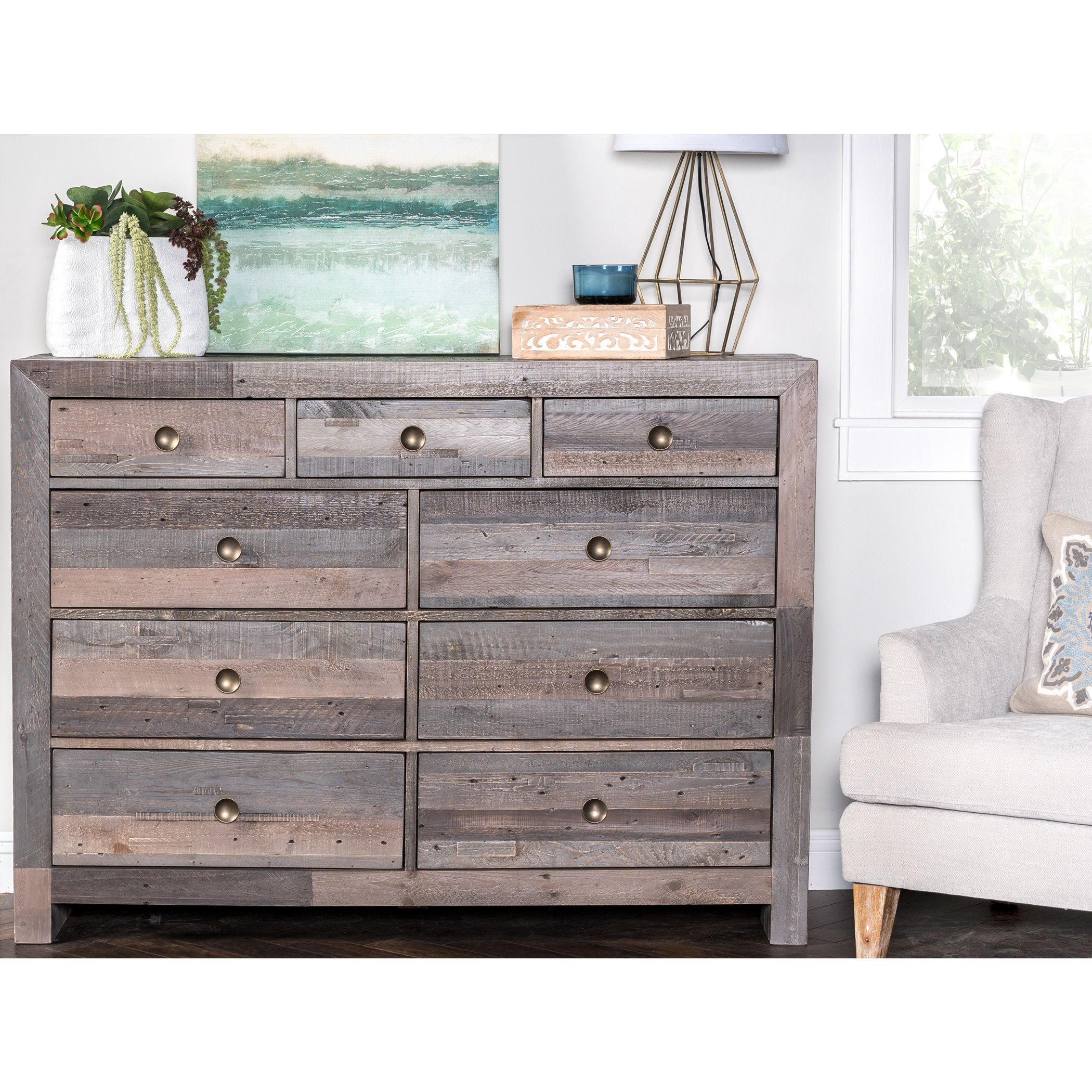 Kosas home oscar charcoal distressed wood handcrafted dresser