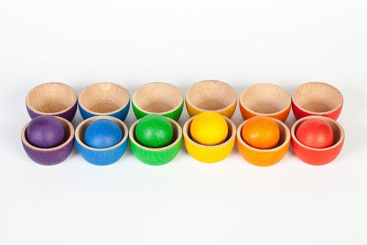 12 Bols et 6 Boules en bois coloré Grapat | Bols, Bols en